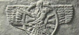 Portada - Figura de un arquero alado representación del dios Assur, considerado una versión tardía de Enlil. Sentado y superpuesto a un disco solar, el símbolo cuneiforme básico de Enlil. (Public Domain)