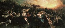 Portada - Åsgårdsreien ('La Cacería Salvaje') óleo de Peter Nicolai Arbo (1872). (Dominio público)