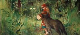 """Portada - """"Caperucita Roja y el lobo en el bosque"""" (1881), óleo de Carl Larsson. Fuente: Dominio público"""