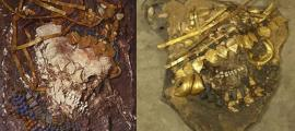 Portada - Tumba de la reina Puabi (izquierda) y restos de sirvientes sacrificadas hallados en la Gran Fosa de la Muerte de Ur (derecha). Fuente: Sumerian Shakespeare