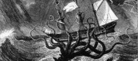 Portada-Imaginativo grabado del siglo XIX en el que puede verse a un gigantesco kraken atacando a un barco con sus tentáculos. (Public Domain)