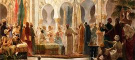 Portada - 'La Corte de Abderramán', óleo de Dionís Baixeras pintado en 1885 y ambientado en la Mezquita de Córdoba (Wikimedia Commons)