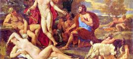 Portada-Midas ante Baco, cuadro del clasicista francés Poussin (1594-1665), que representa el momento final del mito en el que Midas agradece a Dioniso que le haya liberado del don/maldición otorgado previamente. Palacio de Nymphenburg. Munich, Alemania. (Dominio Público)