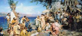 Portada - Friné en Eleusis (1889), óleo de Henryk Siemiradzki. (Public Domain)