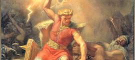Portada - Detalle de Thor en la batalla contra los gigantes, óleo pintado en 1872 por Mårten Eskil Winge, (1825-1896). Museo Nacional de Estocolmo, Suecia. (Public Domain)