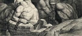 Portada-Grabado de la Divina Comedia de Gustave Doré, Infierno, lámina 65 (Canto XXXI – Los Titanes)
