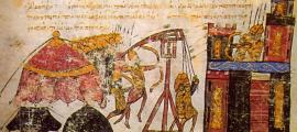 Portada - Imagen de un manuscrito ilustrado que representa el sitio de una ciudadela por parte de los Bizantinos. Una antigua táctica de guerra biológica consistía en lanzar cadáveres infectados por encima de las murallas de las ciudades. Public Domain.