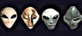 Portada - Fotocomposición. Esculturas de la cultura Vinča junto a recreación de supuestos rostros de extraterrestres. (Código Oculto)