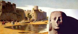 Portada - Caravana de árabes llegando a una ciudad egipcia fortificada. (Dominio público) Superpuesto: Estatua egipcia sin nariz. (Dominio público)