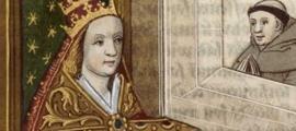 Portada - 'La Papesse Jeanne' (La papisa Juana), la mujer que supuestamente llegó a ser pontífice de la Iglesia católica en la Alta Edad Media (Bibliotheque Nationale de France). Fuente: Dominio público
