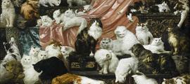 """Portada - 'My Wife's Lovers' (""""Los amantes de mi mujer"""") es un óleo del pintor austríaco Carl Kahler (1855-1906) en el que aparecen retratados los cuarenta y dos gatos de la millonaria estadounidense Kate Birdsall Johnson (Dominio público)"""