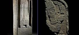 Portada - Mitad inferior de la estela subastada por Bonhams a la izquierda, a la derecha la mitad superior propiedad del Museo Británico.