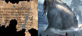 Portada - Fotocomposición. Izquierda, antiguo manuscrito. Derecha, ilustración de gigantes mitológicos (Código Oculto)