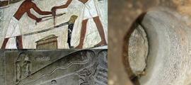 """Uso de herramientas comunes para trabajar la piedra en el antiguo Egipto. (Egyptraveluxe Tours) La conocida como """"Lámpara de Dendera"""". (Olaf Tausch/CC BY 3.0) Guiza, Egipto. Primer plano de una perforación realizada en granito con surcos en espiral. (Chris Dunn.2007)"""