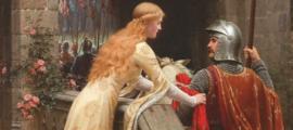 """Portada - 'God Speed' (""""Ve con Dios""""), óleo de Edmund Leighton (1900). Es posible que los padres de Guillermo el Conquistador no fuesen exactamente como este caballero y esta dama, pero sin duda su historia de amor resulta interesante aún en nuestros días. Fuente: Dominio público"""