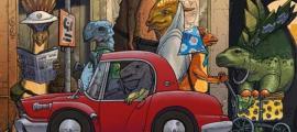 Ilustración cómica de civilizaciones industriales anteriores en la Tierra. Crédito: Ilustración de la Universidad de Rochester / Michael Osadciw