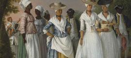 """Pintura titulada """"Mujeres de color libres con sus hijos y sirvientes en un paisaje"""". La vida de las mujeres estadounidenses cambió a medida que avanzaba el siglo XVIII"""