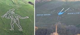 Izquierda: El gigante de Cerne Abbas (CC by SA 3.0) La destrucción del gigante de Cerne Abbas en Dorset ha indignado al National Trust.