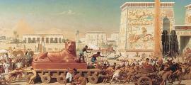 """Comercio en el antiguo Egipto retratado en """"Israel en Egipto"""" por Edward Poynter Fuente: Edward Poynter / Dominio público"""