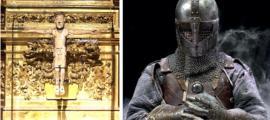 El crucifijo de El Cid, Cristo de las Batallas. (Garciadelosbarros / CC BY-SA 4.0) Derecha: Representación de un caballero. (Stock de Marla/ Adobe)