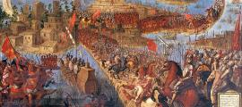 "Un cuadro del siglo XVII conocido como ""Conquista de México por Cortés"" (La conquista de México por Cortés)."