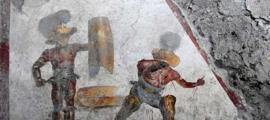 fresco de Gladiador encontrado en Regio V, cerca de Pompeya. Crédito: Parque Arqueológico de Pompeya.