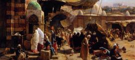 """Gustav Bauernfeind: """"Mercado en Jaffa"""", Gemälde von 1877 (dominio público)"""