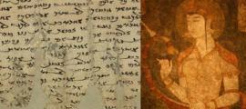 La carta de Miwnay a su esposo. (Proyecto Internacional Danhuang) Fresco que representa a una mujer sogdiana. (Don Croner)