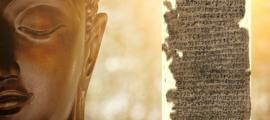 La cabeza de una estatua de Buda. Crédito: Richard / Adobe Stock. Recuadro: Fragmentos de un manuscrito de corteza de abedul de la antigua Gandhara. Crédito: British Library (dominio público)