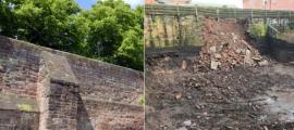 Muralla romana en Chester, Inglaterra. Antes: Peter / Adobe Stock. Después: Chester Live
