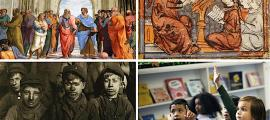 La historia de la infancia y la educación en la civilización occidental ha evolucionado significativamente en los últimos 2000 años, desde la no educación hasta el trabajo infantil y las escuelas formales, ¿cómo cambió exactamente todo? En la imagen: arriba a la izquierda: La escuela de Atenas, un famoso fresco del artista renacentista italiano Rafael, con Platón y Aristóteles como las figuras centrales de la escena (Jorge Valenzuela A / CC BY-SA 3.0). Abajo a la izquierda: Grupo de niños que trabajan duran