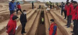 El sitio de construcción del Aeropuerto Internacional de Xianyang, donde recientemente se descubrieron algunas de las miles de nuevas tumbas de Xian.