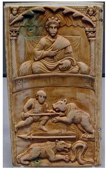 Talla mostrando a un Emperador Romano presidiendo los juegos de gladiadores