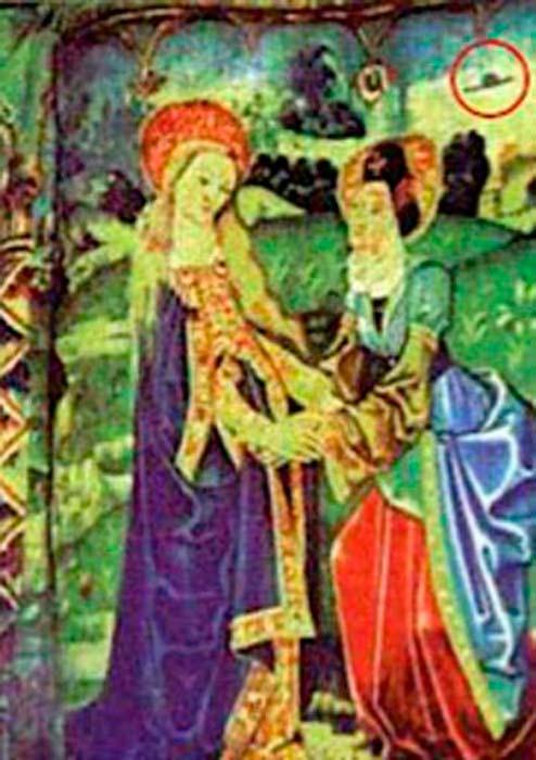 Magnificat, tapiz medieval del XV de Tournai, Bélgica, objeto rodeado con un círculo en la esquina superior derecha. (Basílica de Notre Dame Beaune / Dominio público)