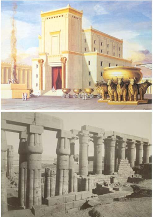 Arriba: Interpretación artística del Templo de Salomón (CC BY 4.0). Abajo: Templo de Amenhotep III, Luxor, Egipto. (Dominio público)