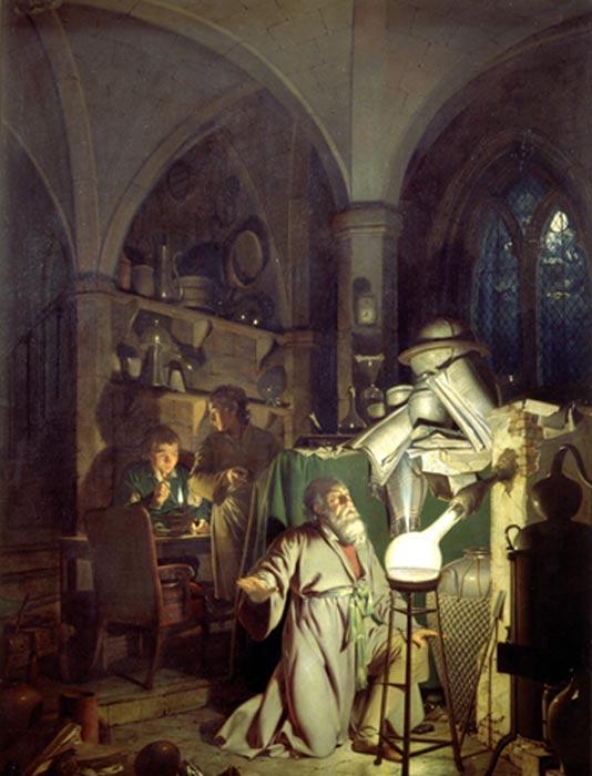 'El alquimista, en busca de la piedra filosofal' por Joseph Wright de Derby, 1771. (Dominio público)