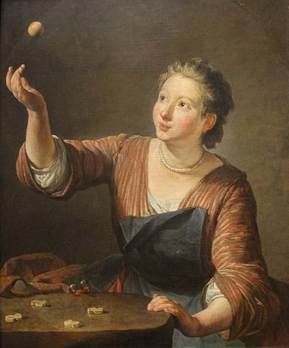 """Una pintura al óleo sobre lienzo titulada """"El juego de los nudillos (Les Osselets)"""" (1734) por Jean-Baptiste-Siméon Chardin. (Dominio publico)"""