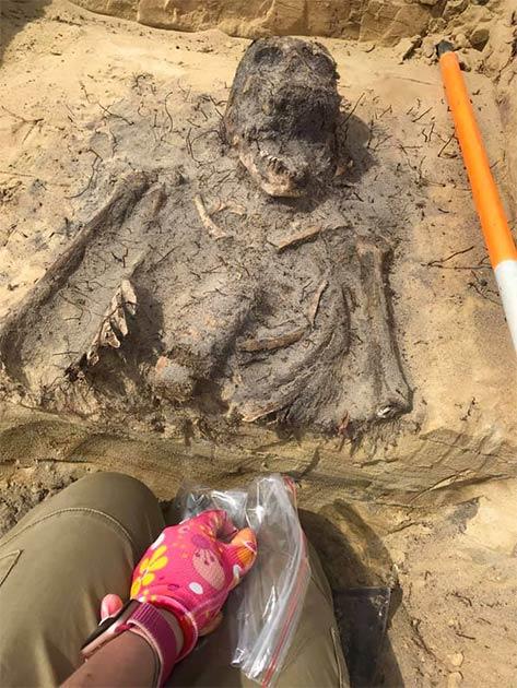 El hallazgo confirma las teorías de los arqueólogos y las especulaciones de los lugareños de que los niños fueron enterrados en un cementerio en el área de Church Mountains. (Arkadia Firma Archeologiczna)