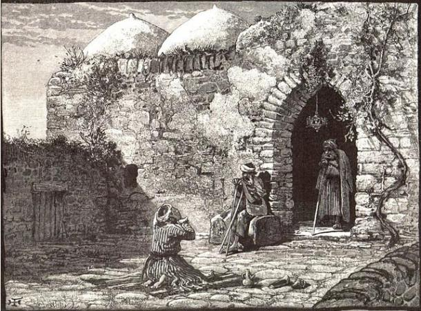 Ilustración que representa el sepulcro de Jonás en la antigua Gat (Wikimedia Commons)