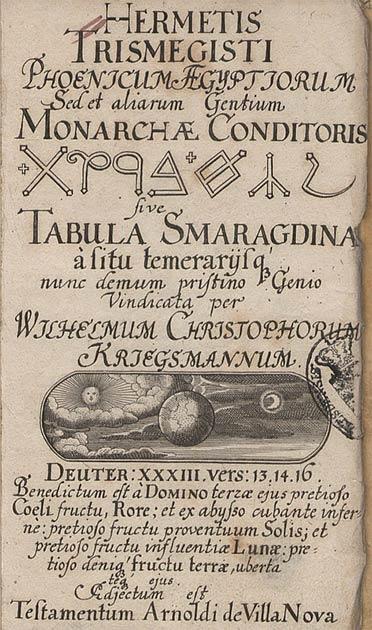 Una traducción del siglo XVII d.C., de la Tabla de Esmeralda. (Deutsche Fotothek / dominio público)