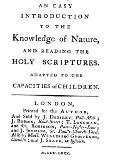 """El primer libro de Trimmer fue """"Una introducción fácil al conocimiento de la naturaleza y la lectura de las Sagradas Escrituras, adaptadas a las capacidades de los niños"""", 1780. (Awadewit /Dominio publico)"""