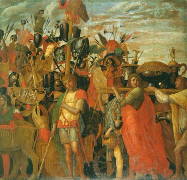 Los triunfos de César, portadores de trofeos y lingotes. (Mathsci / Dominio público)