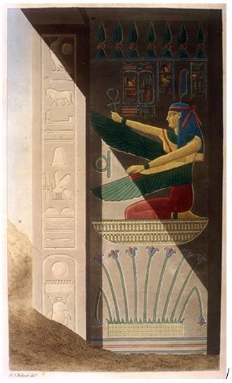 Los nombres de Ramses III; Ma'at alado que se arrodilla sobre los lirios del Alto Egipto. Escena de la tumba de Ramses III. Artista: Tresea Dutertre, 1842.