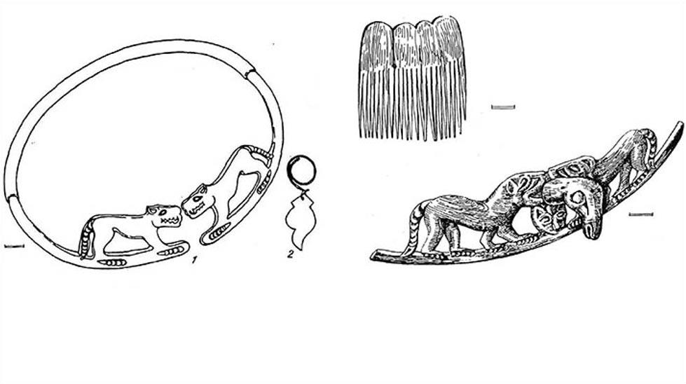 En otras tumbas similares de la república de Altái que aún se encontraban intactas, los arqueólogos han observado la similitud entre estas mujeres de hace 2.500 años y las legendarias guerreras vírgenes Amazonas de las que hablan los antiguos griegos. Dibujos: Natalya Polosmak