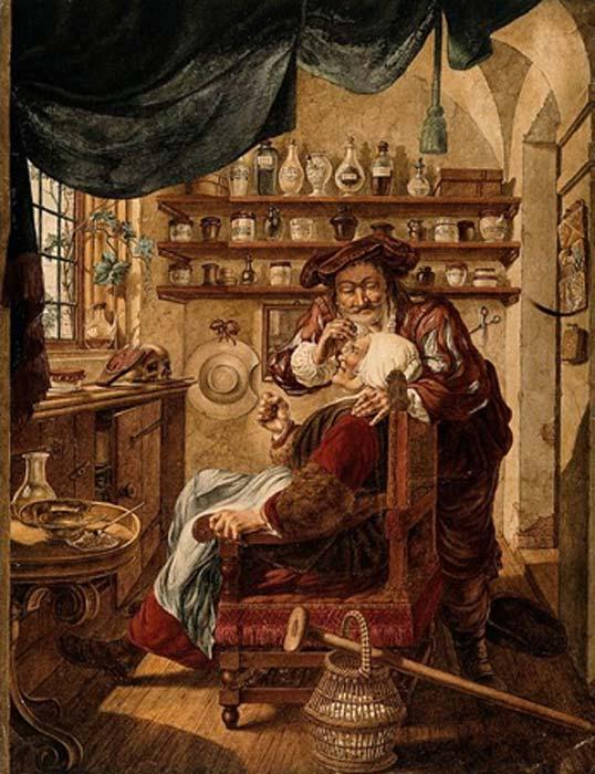 Un barbero-cirujano extrayendo piedras de la cabeza de una mujer; simbolizando la expulsión de 'locura'. Acuarela de J. Cats, 1787, después de B. Maton. (Imágenes de bienvenida / CC BY 4.0)