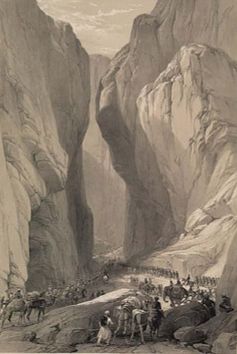 Un boceto histórico de 1842 de Bolan Pass, Baluchistán, Pakistán. (Dominio publico)