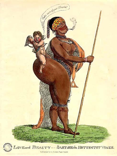 Una caricatura de Saartjie Baartman, llamada el Hottentot Venus. Nacida en una familia Khoisan, fue exhibida en Londres a principios del siglo XIX. (Julo / Dominio Público)