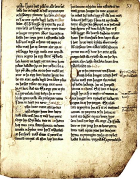 Una página de Konungs Skuggsjá, el antiguo texto noruego describe una criatura tipo hombre salvaje. (Haabet / Dominio público)