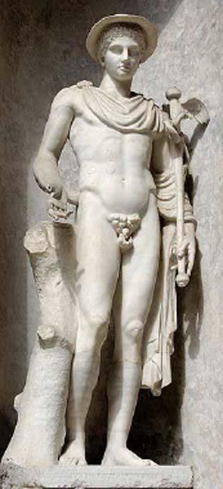 """El llamado """"Hermes Ingenui"""" después de la inscripción en el pedestal que indica el nombre del escultor o del donante. Hermes usa sus atributos habituales: kerykeion (o bastón de heraldo), kithara, petasus (sombrero redondo), capa de viajero y templos alados. Mármol, copia romana del siglo II antes de Cristo después de un original griego del siglo quinto antes de Cristo. (Dominio público) Junto con Hades y Perséfone, Hermes fue uno de los dioses populares para invocar en una tableta de maldición."""