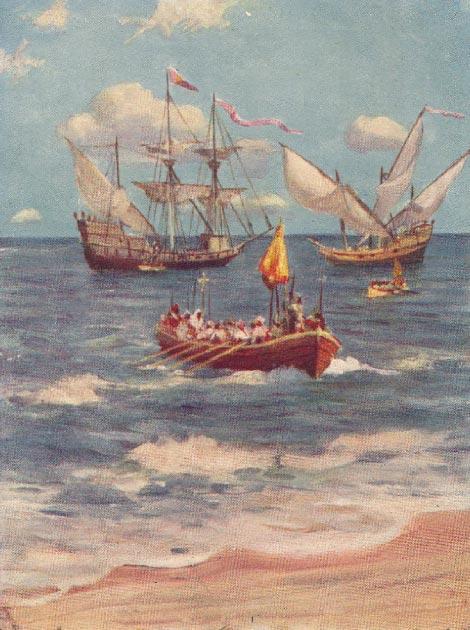 Vasco da Gama aterrizando en Calicut. (Piggy58 / Dominio público)